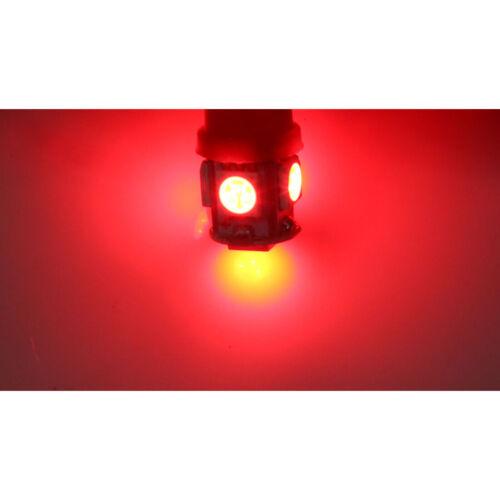 4 x ampoule veilleuse Feu LED W5W T10 ROUGE XENON 6500k voiture auto moto 5 smd