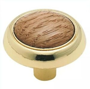 Amerock-Allison-Polished-Brass-Wood-Face-1-1-4-034-Cabinet-Knob