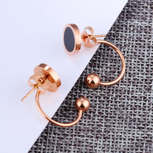 Hook-Ball-Round-Black-Rose-Gold-GP-Surgical-Stainless-Steel-Stud-Earrings-Gift