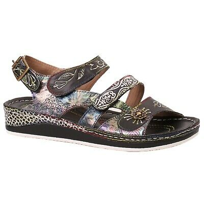 Women/'s L/'Artiste SUMACA Black Multi Back Buckle Strap Sandal Shoes