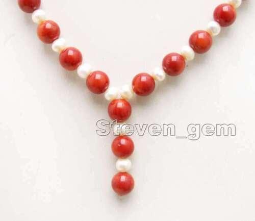 """6-7 Mm Blanc Naturel Pendentif Collier de perles pour femmes corail rouge 17/"""" les colliers 5999"""