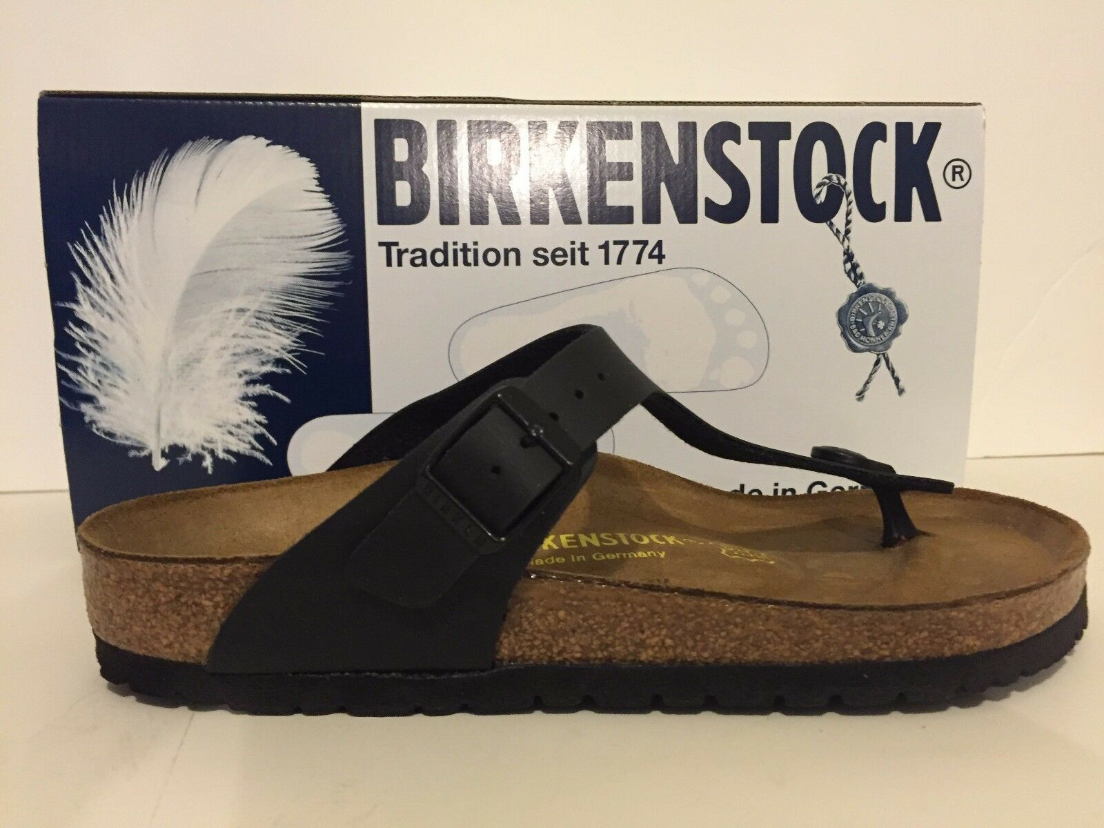 6344174d0da Birkenstock Women s Gizeh 043691 Size 40 Black Leather Slip on Slide Sandal  Sz 9 for sale online