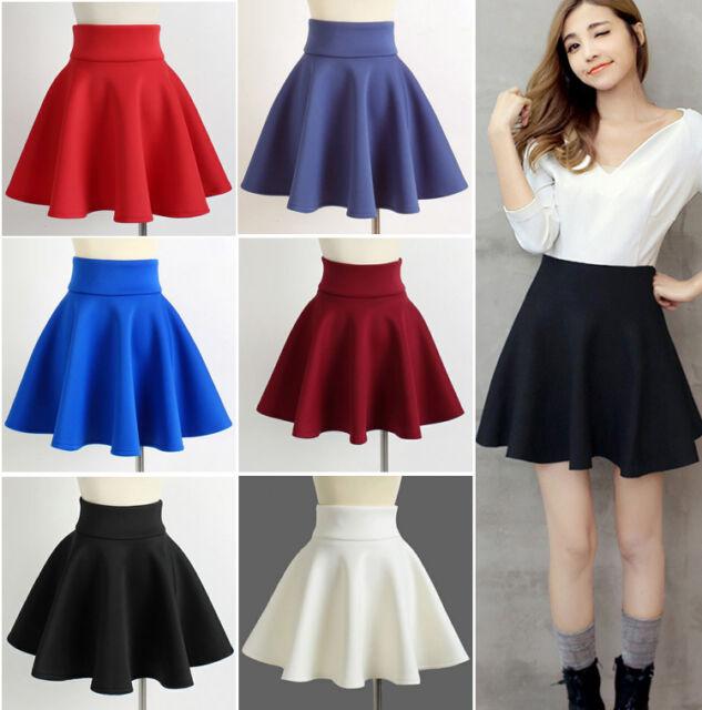 High Waist Skater Mini Skirt Jersey Plain Flared Pleated A-Line Short Sexy S M L