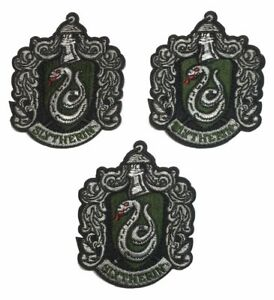 """Harry Potter Slytherin Shield 2 1//2/"""" Wide Embroidered Iron On Patch Set of 3"""