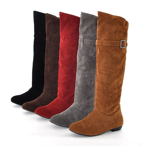 US4-13 Womens faux suede knee high boots flats low heel pull on slouch shoes New