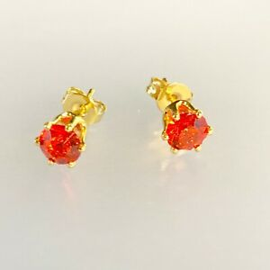 4mm-Gold-Stud-Earrings-Small-Red-Rubies-18k-Gold-Filled-Plum-UK-BOXED