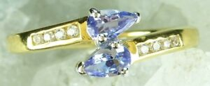 NEW-9CT-Plated-Solid-925-Sterling-Silver-Blue-amp-Clear-Cubic-Zirconia-Ring-Sz-M-P