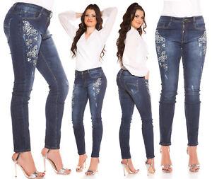 Jeans-donna-blu-taglie-forti-curvy-ricamo-strass-amp-farfalle-tg-44-46-48-50-52-54