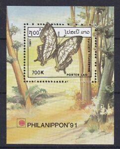 Laos-1991-Bf-117-Esposizione-filatelica-Tokyo-farfalle-MHN