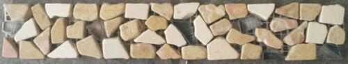 Bruchstein Glas Mosaik Bordüre 5x30 Beige Naturstein Fliesen Sockelleiste B468