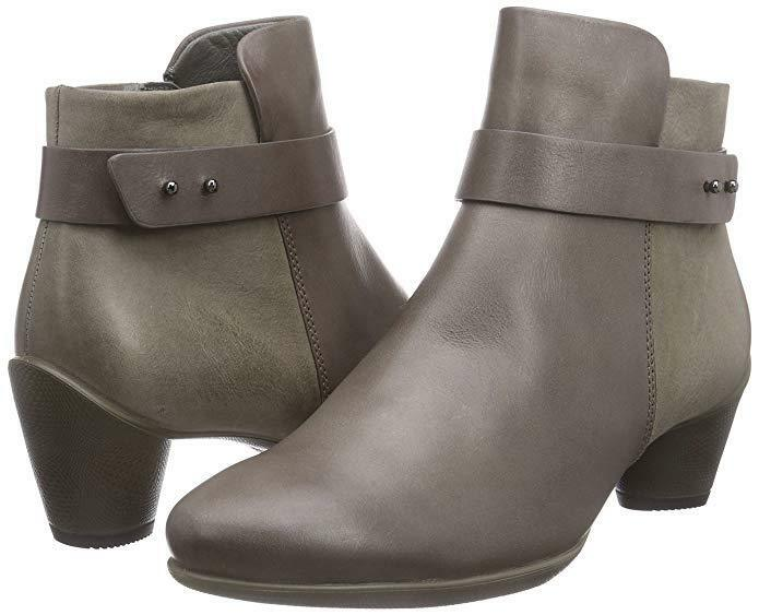 ECCO Women's Sculptured 45 Boot Leather Zip Ankle Bootie Dark Clay 10-10.5