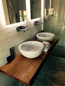 Mensole In Legno Per Bagno.Dettagli Su Mensola Lavabo In Legno Massello Design Per Bagno Su Misura
