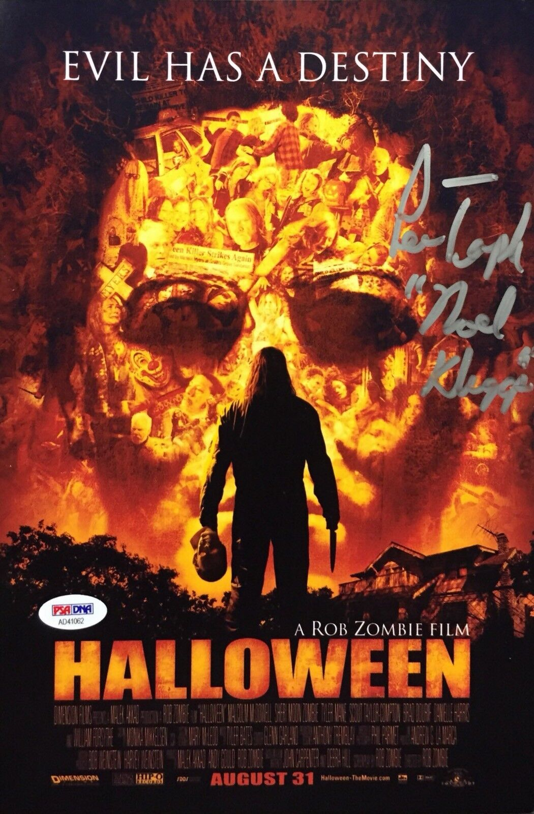Noel Kluggs Signed Rob Zombie's Halloween 8x12 Photo *Lew Temple PSA AD41062