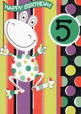GREAT VALUE GREETING CARDS 5TH 5 FROG  BIRTHDAY CARD