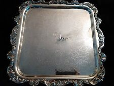 Vintage E.P.C.A. SILVERPLATE BY POOLE ServingDisplay Tray SQUARE FOOTED ORNATE