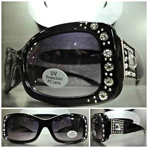 New WESTERN Bling COWGIRL SUN GLASSES Black Frame Sugar Skull Concho Dark Lens