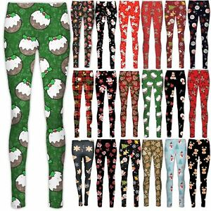 51715093881f00 Image is loading Kids-Girls-Christmas-Leggings-Snowman-Tree-Stretchy-Full-
