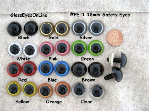 10 PAIR Safety Eyes 18mm to 21mm Plastic Choose SIZE & COLOR Crochet Sew Knit PE