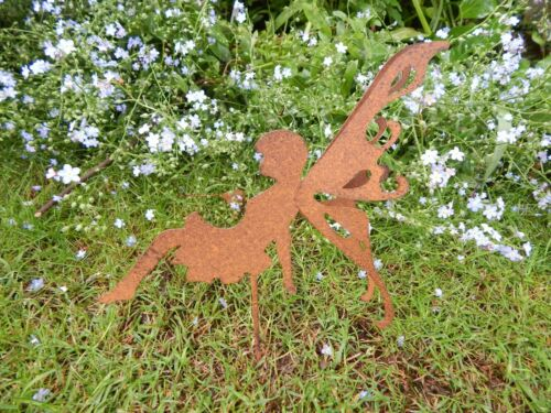 RUSTIC STYLE METAL FAIRY SITTING ON A STAKE GARDEN ORNAMENT