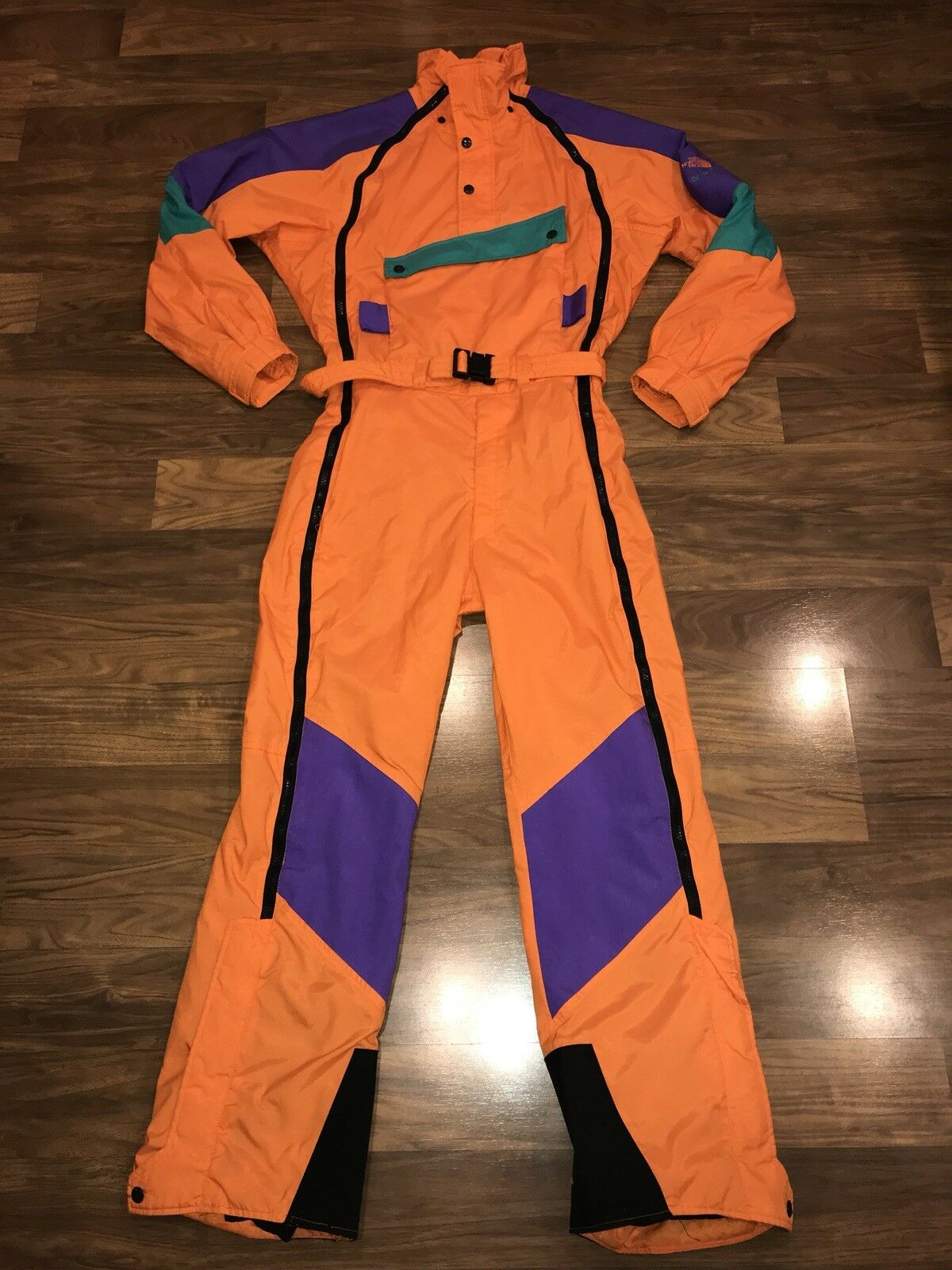 orange THE NORTH FACE Extreme VTG One piece SKI SUIT Snow Bib Snowsuit Men SMALL