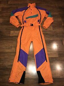 d91f1a1dd Details about Orange THE NORTH FACE Extreme VTG One piece SKI SUIT Snow Bib  Snowsuit Men SMALL