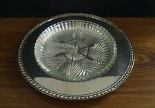"""Vintage W M ROGERS SILVERPLATE 10.25"""" Relish Tray with Divided Glass Insert"""