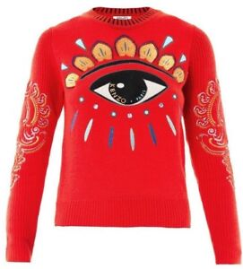 8060c20e4694a KENZO Red Lotus Eye Embroidered Sweater Size Large New without tag ...