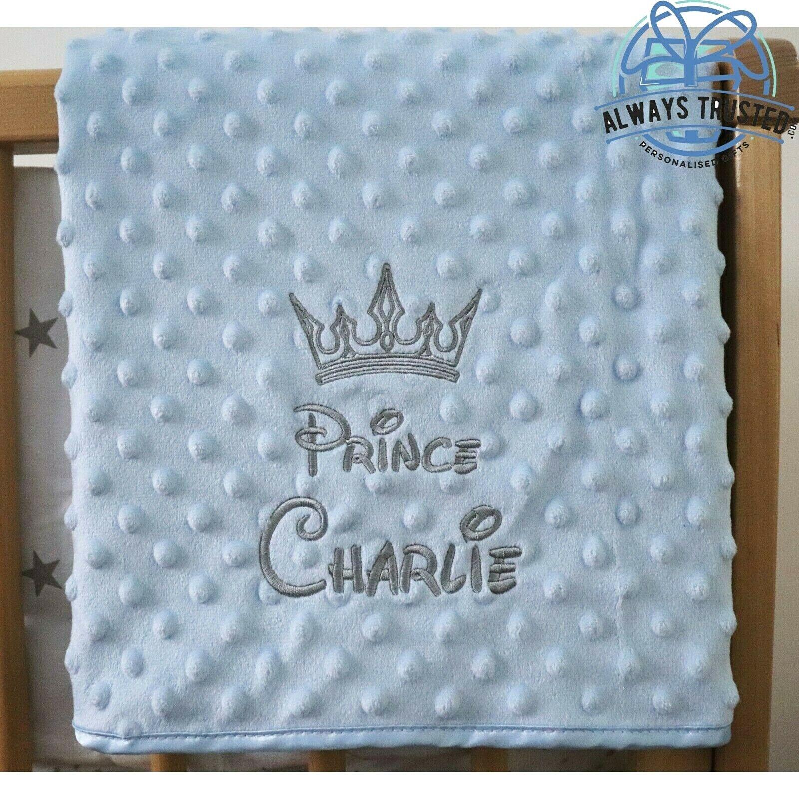 Manta de bebé personalizada estilo de lujo Burbuja Azul Gris Regalo de nombre de la fuente de Disney