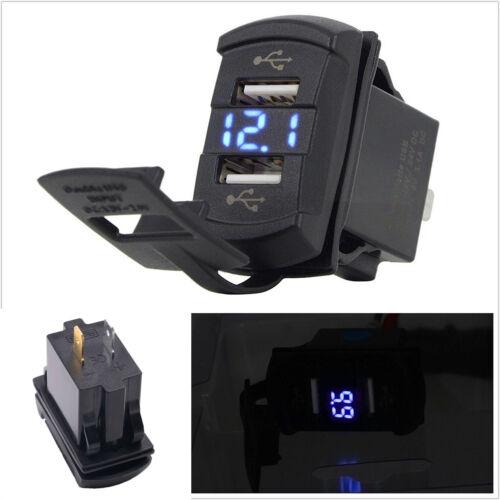 12V Dual USB Socket Rocker Switch Panel with Voltage Voltmeter Blue Car Boat