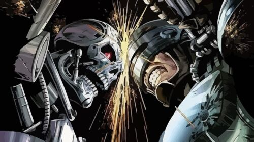 New Robocop vs Terminator Classic Movie Vintage T-742 Silk Fabric Poster