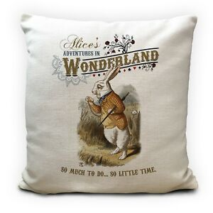 Alice In Wonderland Cushion Cover White Rabbit So Little Time Quote