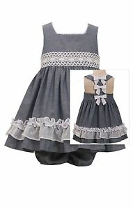 NEW-Bonnie-Jean-Chambray-Bow-Back-Lace-Summer-Dressy-Dress-12-18-24-Months