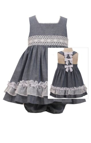 NEW Bonnie Jean Chambray Bow Back Lace Summer Dressy  Dress 0-3-6-9 Months