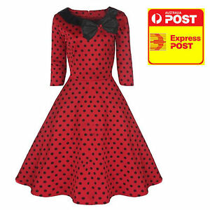 Rockabilly-50s-Vintage-Red-Black-Polka-Dot-Sleeve-Ladies-Dress-size-8-20-PLUS