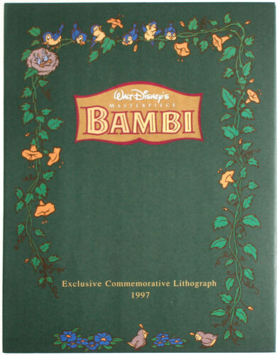"""BAMBI 1997 11"""" X 14"""" Litho with Mat /& Envelope Details about  /Disney Store Presale Lithograph"""