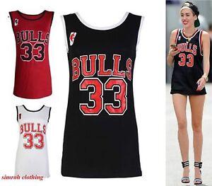 New-Womens-Ladies-Bulls-33-Celebrity-Basketball-Vest-T-Shirt-Top-8-14