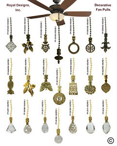 Royal Designs Fan Pull Chain with Laurel Wreath Finial – Antique Brass