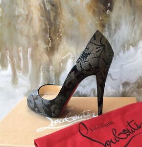 online retailer 656df 1916c Details about Christian Louboutin Baroque Black Patent Peep Toe 120  Platform Heels 38.5