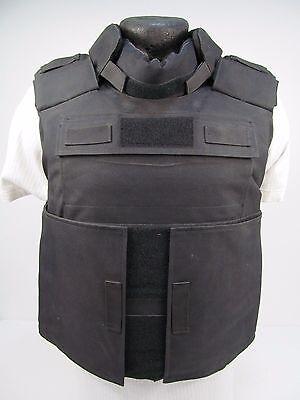 "X Police US NIJ L3a Black Bullet & Stab Proof Kevlar Body Armor Vest 40-48"" VV17"
