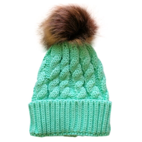 Toddler Baby Kids Warm Winter Wool Knitted Beanie Faux Fur Pom Bobble Hat Cap