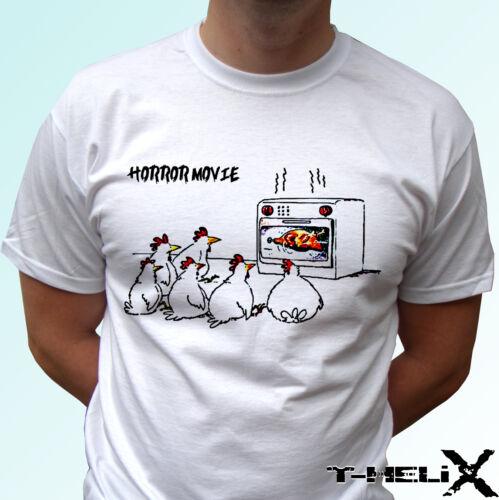 t shirt top funny party joke Funny Chicken horror movie mens womens kids