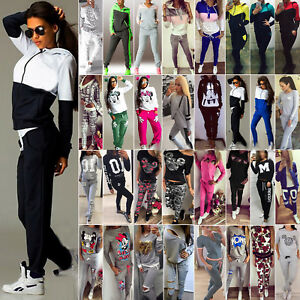 42d1ae45f73 Image is loading 2Pcs-Women-039-s-Tracksuit-Hoodie-Sweatshirt-Tops-