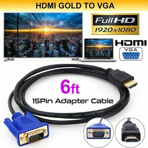 HDMI-GOLD-male-vers-VGA-HD-15-male-15Pin-Cable-adaptateur-6-ft-environ-1-83-m-1-8-M-1080P