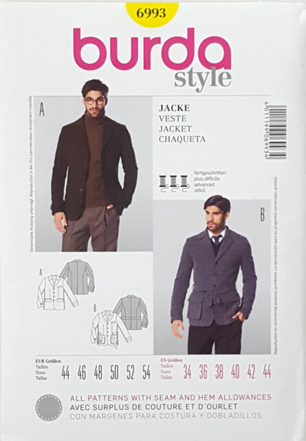 Burda Style 6993 Sewing Pattern Men\'s Jacket Coat - Size 34-44 | eBay