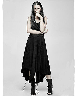 Punk Rave Gothic Goth Witchery Summer Maxi Dress Black Handkerchief Hem