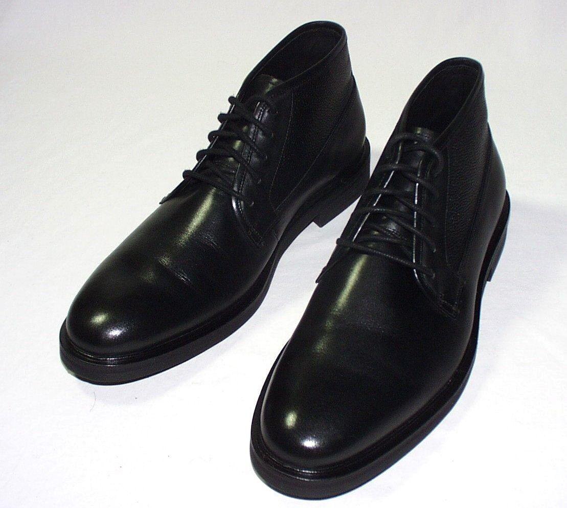 Warfield & Grand Nixon 5-Eye Mid Dress Boot, Leather Upper, Black, 8.5, New