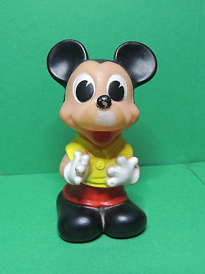 Mickey Ledra Figurine Ancien Pouet Rubber Squeaky Squeeze Disney Vintage Toy