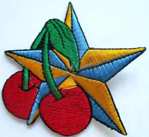 Nautical star Cherries ricamate//Patch Stella Rockabilly Emo Ciliegie aufbügler