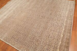 Old-Hand-Made-Mocha-Brown-Contemporary-Style-Persian-Oriental-Wool-Area-Rug