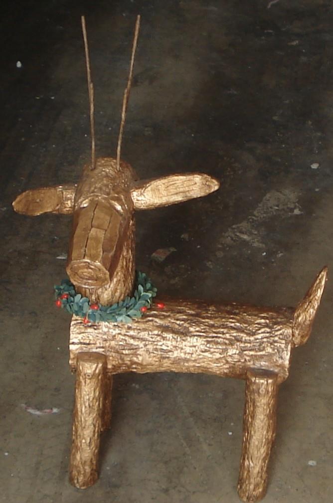 Gently Used Hand Made Painted Log Reindeer Doorstop - VGC  VERY CUTE DECORATION